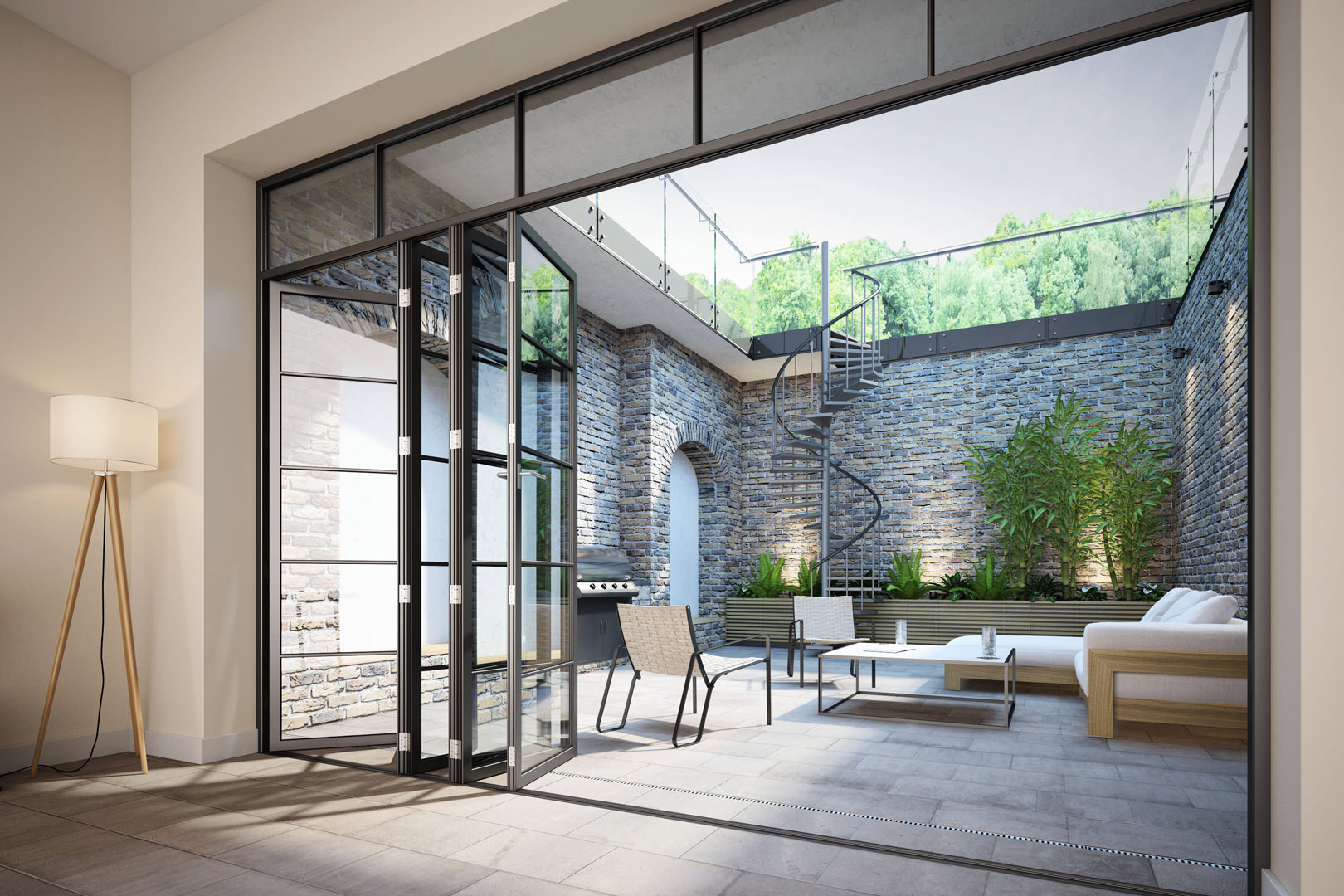 Chiswick Town House - A new 5/6 bedroom town house with sunken courtyards open out from a high specification kitchen and entertainment space in south west London (designed by M Doohan whilst at FCH Architects)