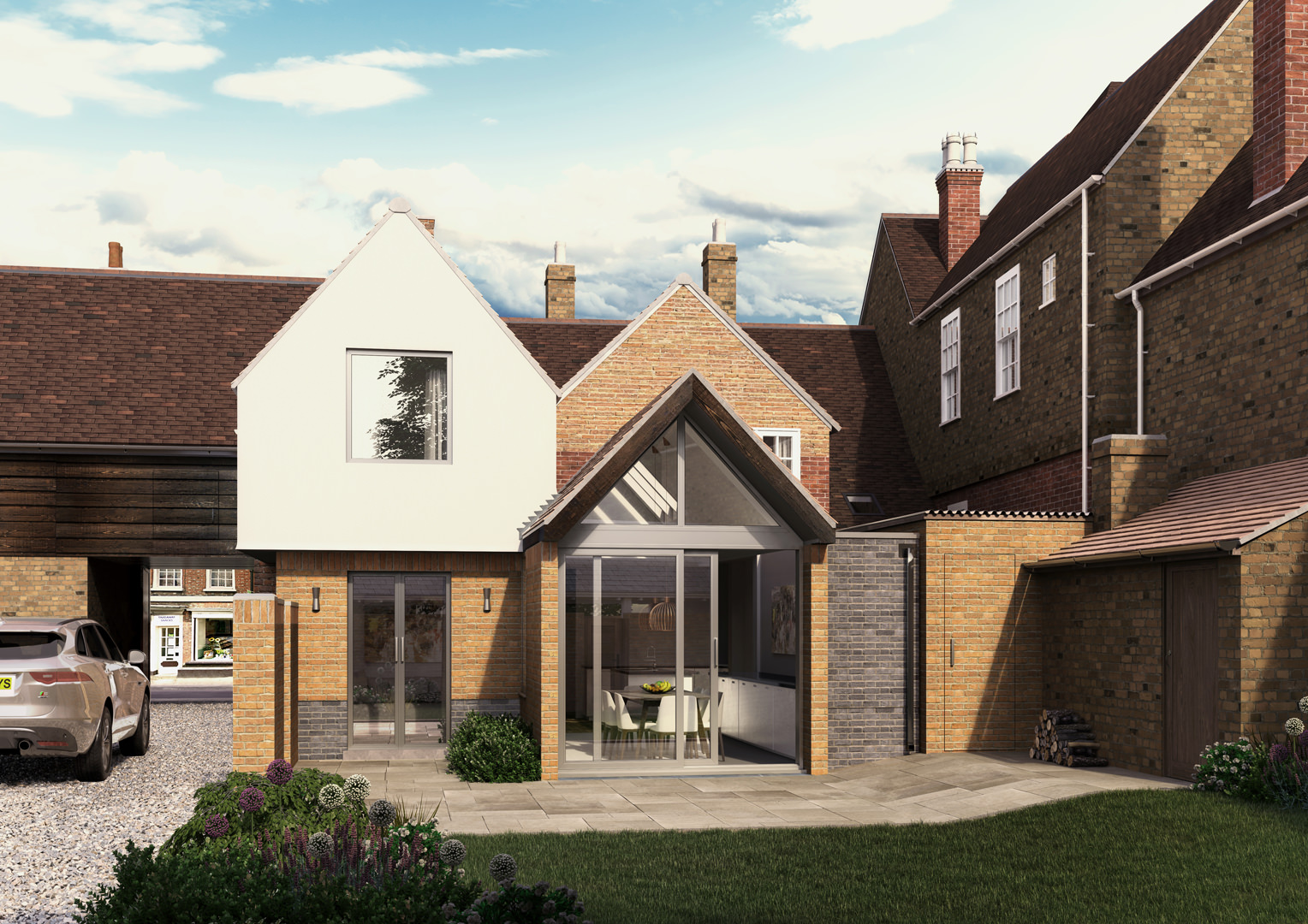 This ground and first floor extension to Grade 2 listed building has created a 5 bedroom family home with a successful balance of heritage and modern living in the centre of a Georgian market town in Bedfordshire