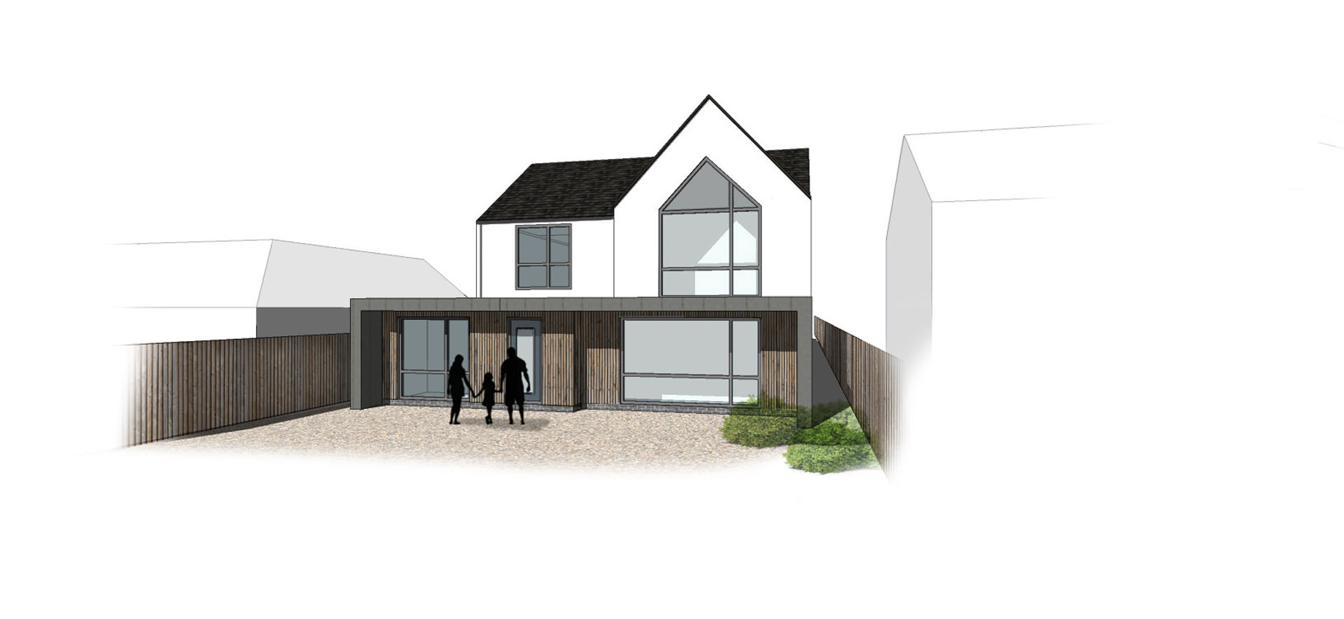 Large single storey contemporary rear extension on a challenging narrower plot. The design features courtyard lightwells and interconnected family spaces in Bedfordshire