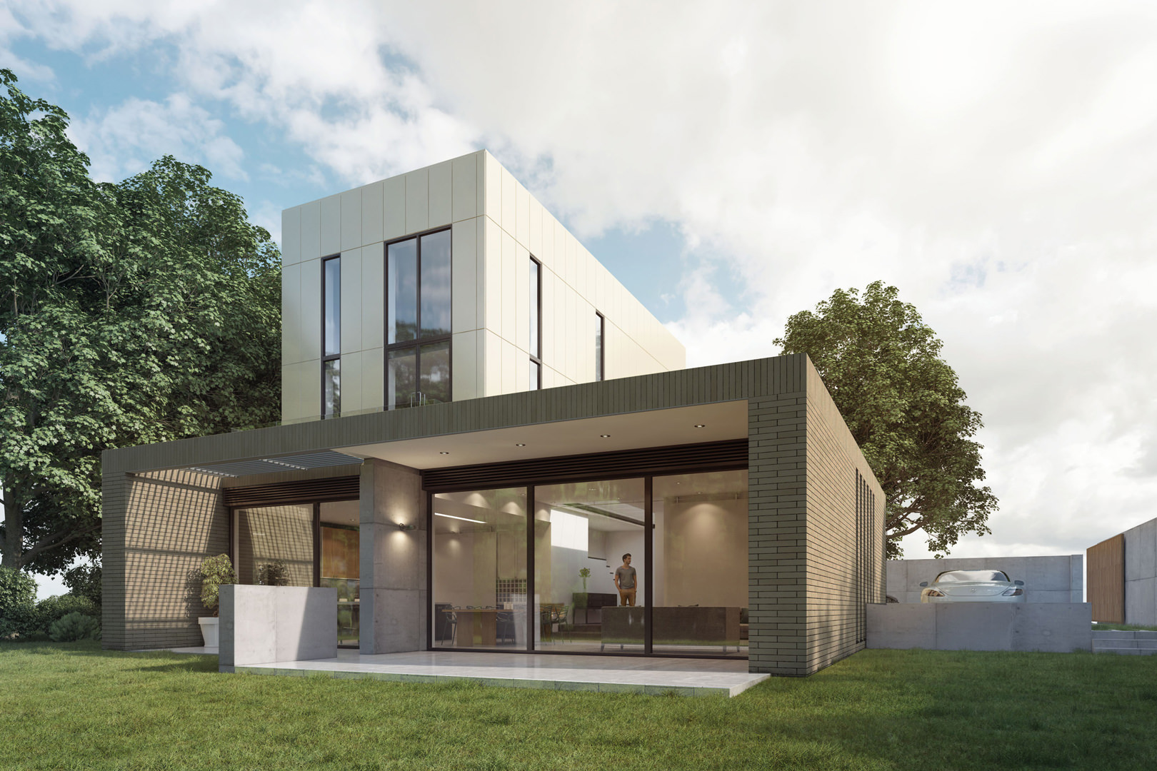 Striking new build 4 bedroom houses with a modern clean line look and open light and air spaces (designed by M Doohan whilst at FCH Architects)