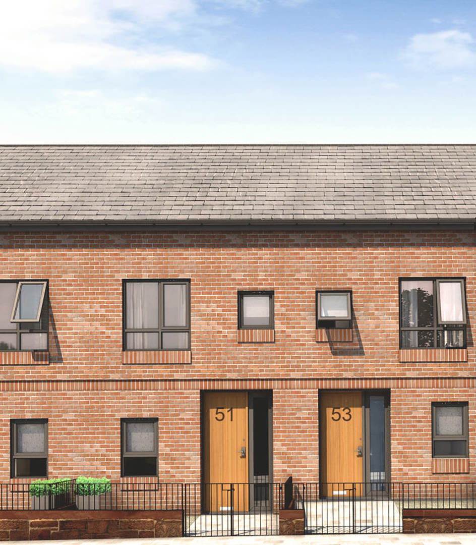 These 3 storey and 3 bedroom houses are part of a small development of bespoke homes in south Liverpool with undercroft garages and open plan kitchen dining spaces which open onto raised terraces (designed by M Doohan whilst at FCH Architects)