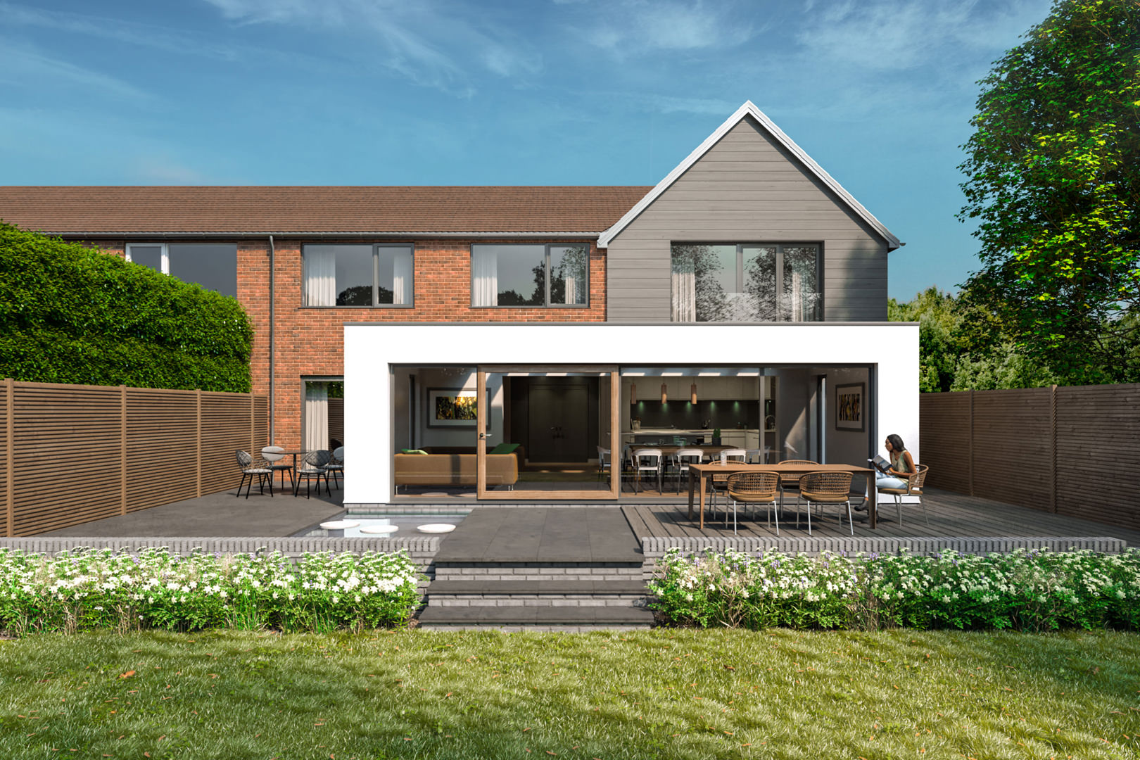This 3 bedroom semi-detached house has been transformed with a two storey side and single storey rear extension to create a large 4 bedroom home with large siding doors in an 8m wide glazed opening onto the garden in Ampthill Bedfordshire