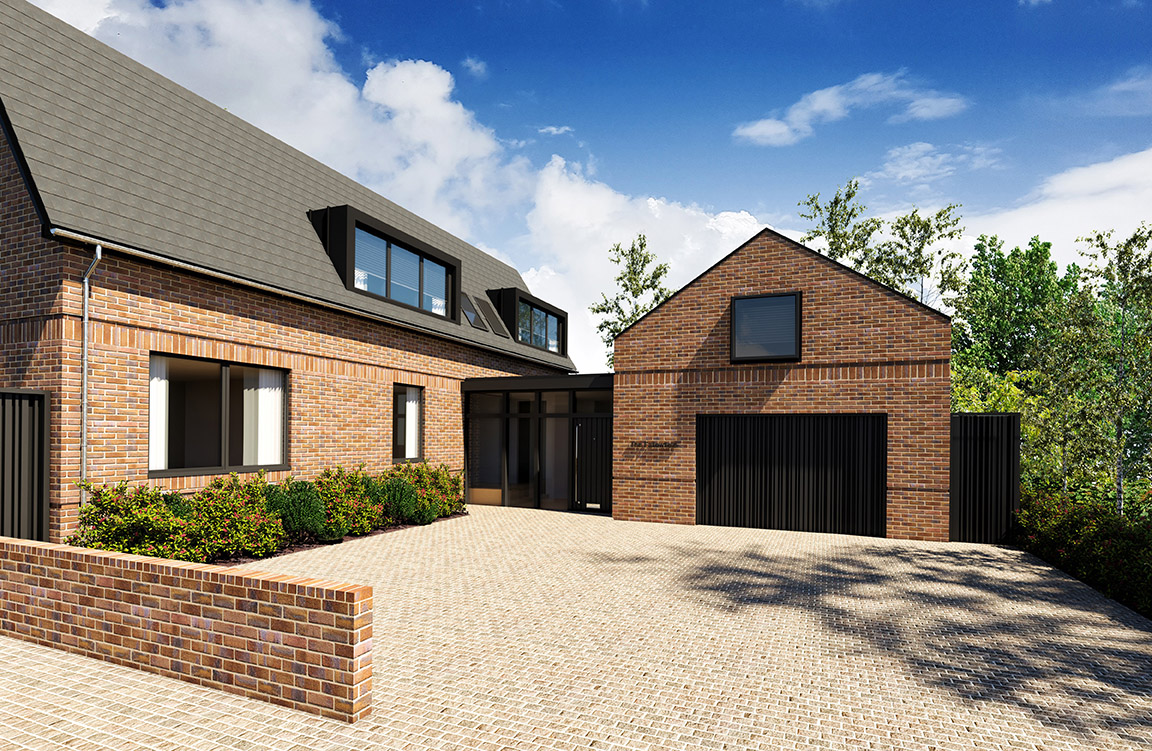 5 bedroom detached home with large open plan living spaces and featured south-facing glazed corners.